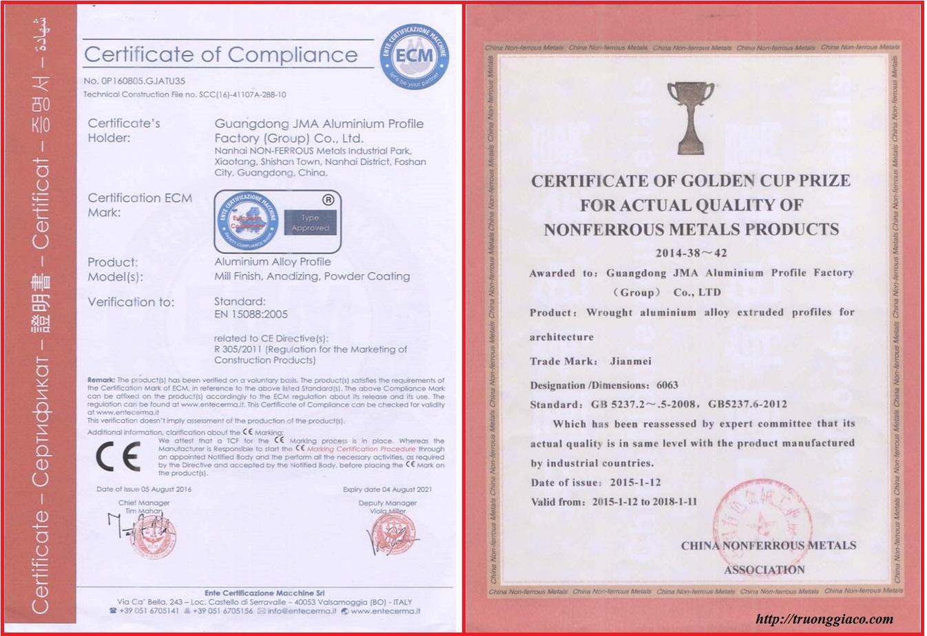 chứng nhận tiêu chuẩn chất lượng sơn và nhôm châu âu